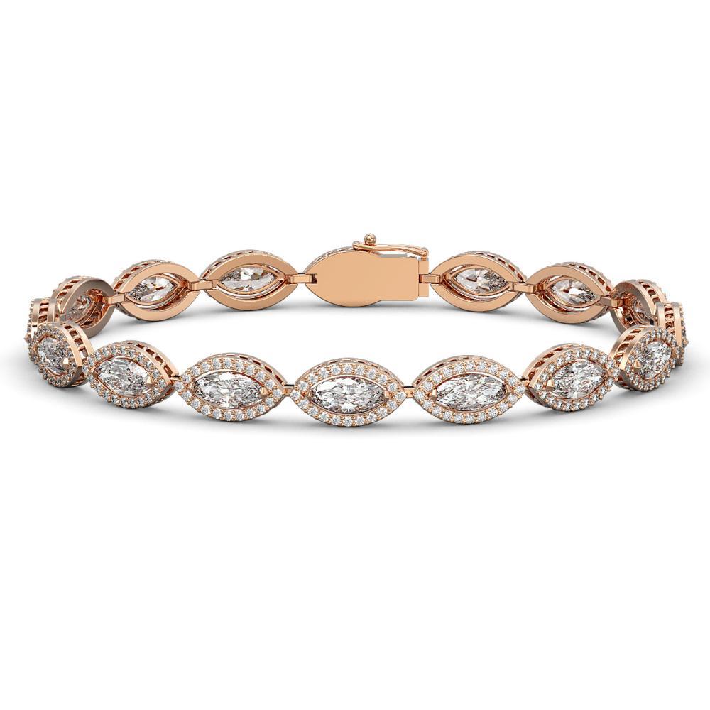 Lot 6900: 12.16 ctw Marquise Diamond Bracelet 18K Rose Gold - REF-1692X3R - SKU:42744