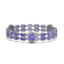 Lot 7073: 32.77 ctw Tanzanite & Diamond Bracelet 14K White Gold - REF-366Y3X - SKU:44405