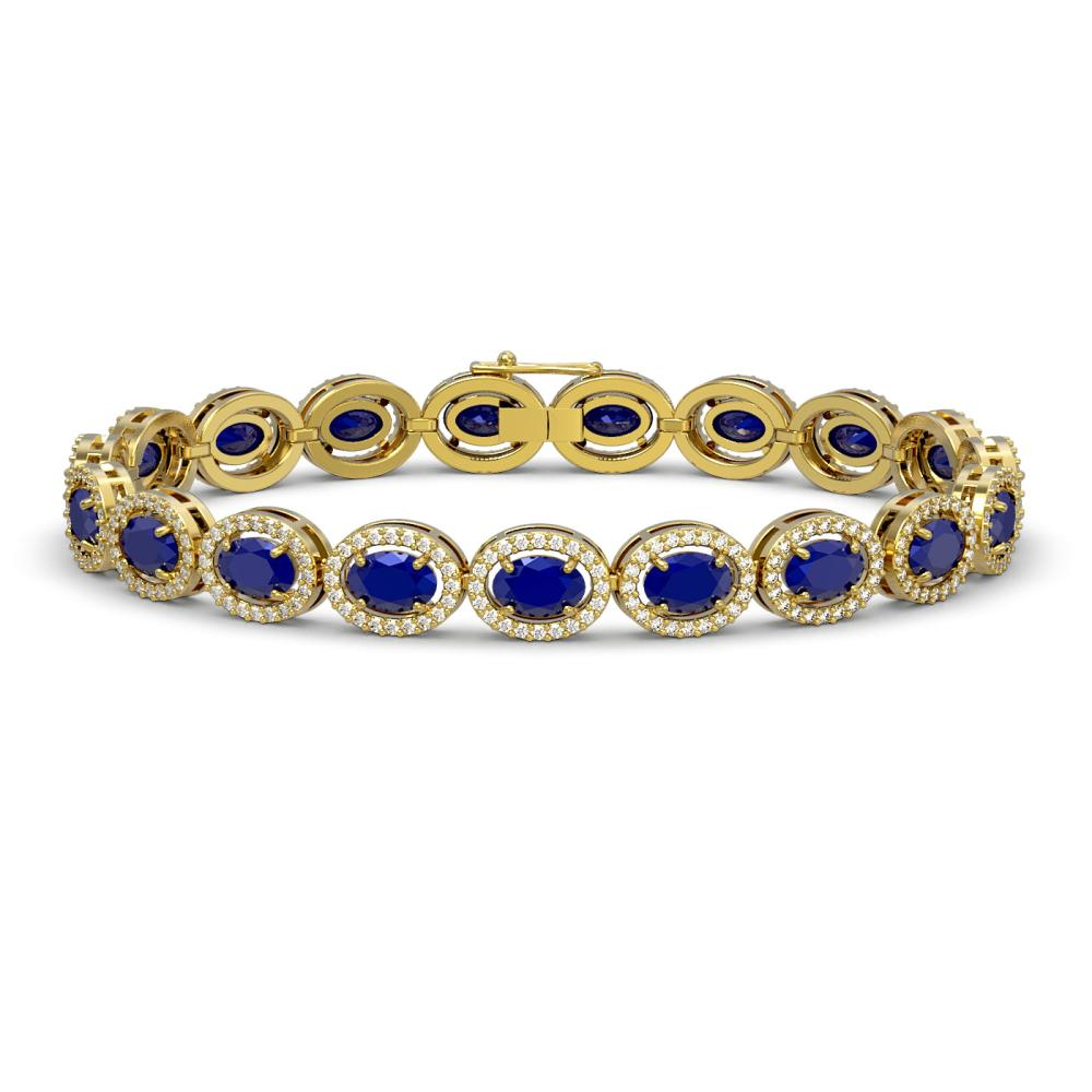 Lot 7043: 15.2 ctw Sapphire & Diamond Halo Bracelet 10K Yellow Gold - REF-244F2N - SKU:40459