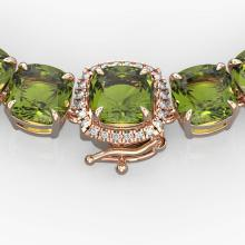 Lot 6939: 100 ctw Green Tourmaline & VS/SI Diamond Necklace 14K Rose Gold - REF-1072F7N - SKU:23350
