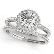 Lot 6979: 1.25 ctw VS/SI Diamond 2pc Wedding Set Halo 14K White Gold - REF-153R2K - SKU:30924