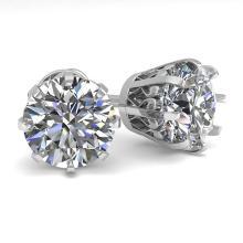 Lot 7027: 3.09 ctw VS/SI Diamond Stud Solitaire Earrings 14K White Gold - REF-1102K5W - SKU:35565