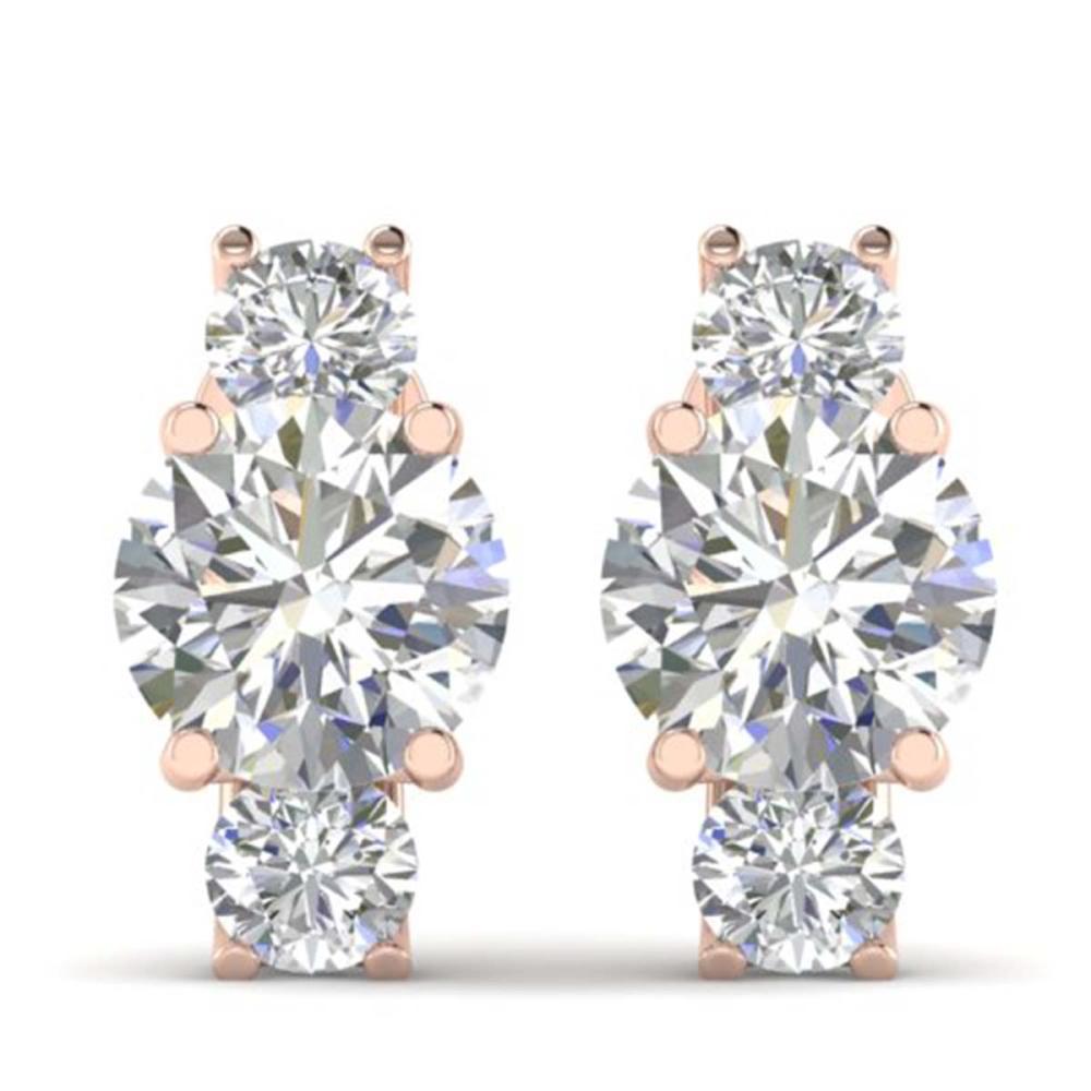 Lot 6992: 2.9 ctw VS/SI Diamond 3 Stone Stud Earrings 14K Rose Gold - REF-587M3F - SKU:30307