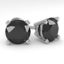 Lot 7022: 4.0 ctw Black Diamond Stud Earrings 18K White Gold - REF-99X2R - SKU:32325