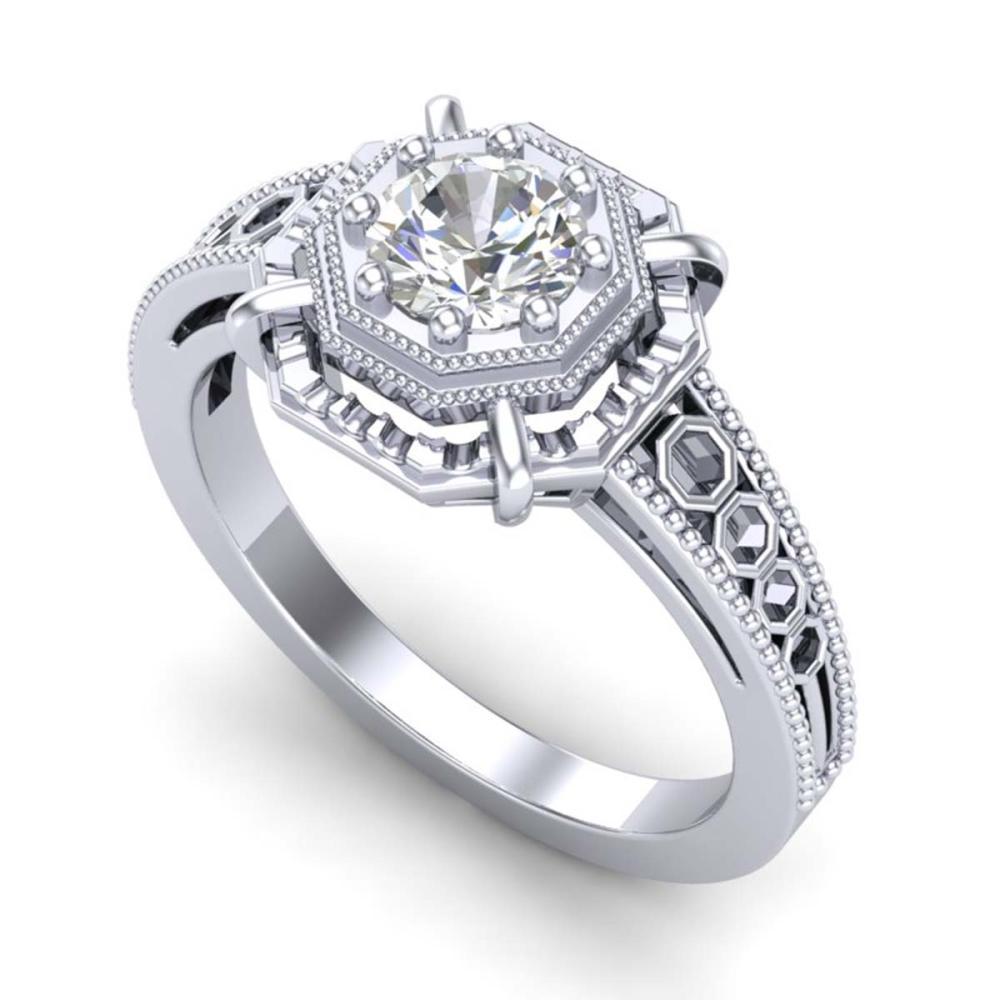 Lot 7037: 0.53 ctw VS/SI Diamond Art Deco Ring 18K White Gold - REF-136N4A - SKU:36869