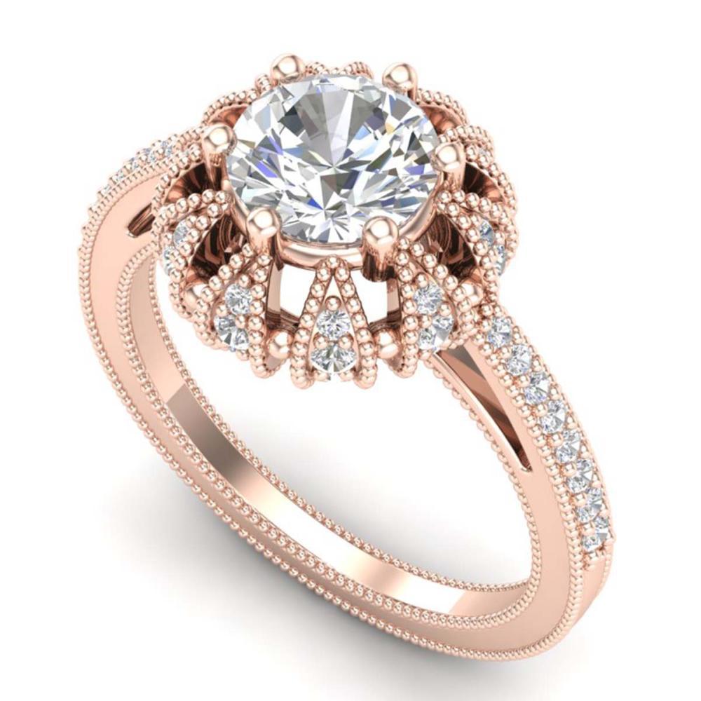 Lot 6998: 1.65 ctw VS/SI Diamond Art Deco Ring 18K Rose Gold - REF-427R3K - SKU:36993