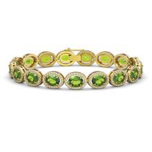 Lot 7082: 21.13 ctw Peridot & Diamond Halo Bracelet 10K Yellow Gold - REF-286X5R - SKU:40630