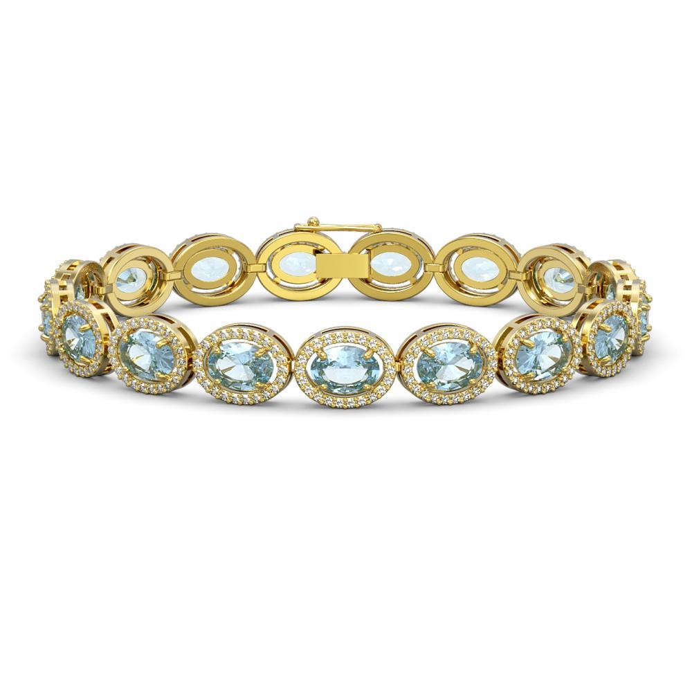 Lot 7029: 24.32 ctw Sky Topaz & Diamond Halo Bracelet 10K Yellow Gold - REF-248M9F - SKU:40633