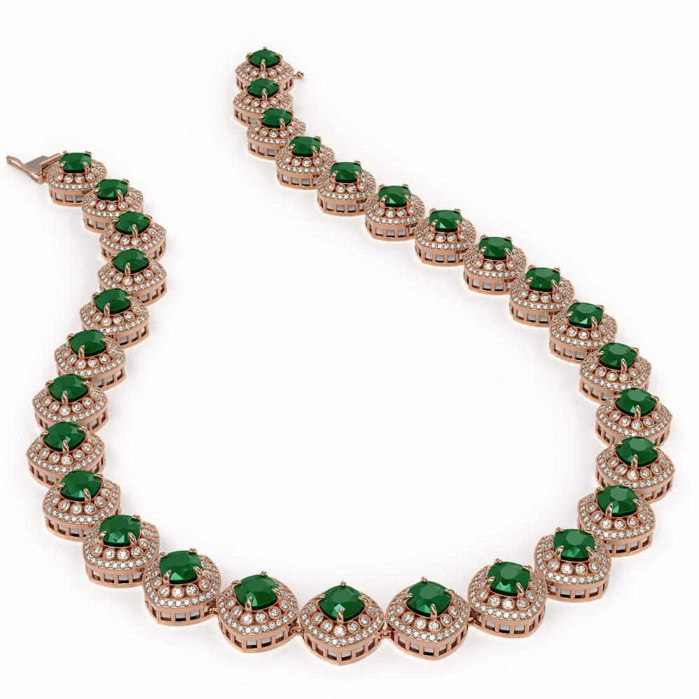 Lot 7023: 82.17 ctw Emerald & Diamond Necklace 14K Rose Gold - REF-2115N8A - SKU:44097