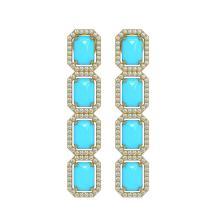 Lot 6980: 11.13 ctw Turquoise & Diamond Halo Earrings 10K Rose Gold - REF-145W6H - SKU:46070