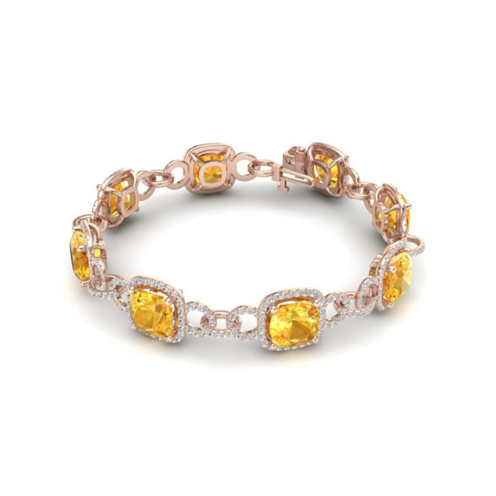 Lot 6999: 30 ctw Citrine & VS/SI Diamond Bracelet 14K Rose Gold - REF-368K9W - SKU:23019