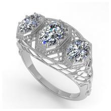 Lot 7049: 2 ctw Past Present Future Oval Cut Diamond Ring 18K White Gold - REF-421W6H - SKU:36066