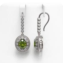 Lot 6987: 8.45 ctw Tourmaline & Diamond Earrings 14K White Gold - REF-250X7R - SKU:43622