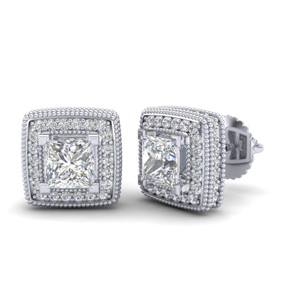 Lot 7013: 2.01 ctw Princess VS/SI Diamond Art Deco Earrings 18K White Gold - REF-285X5R - SKU:37127