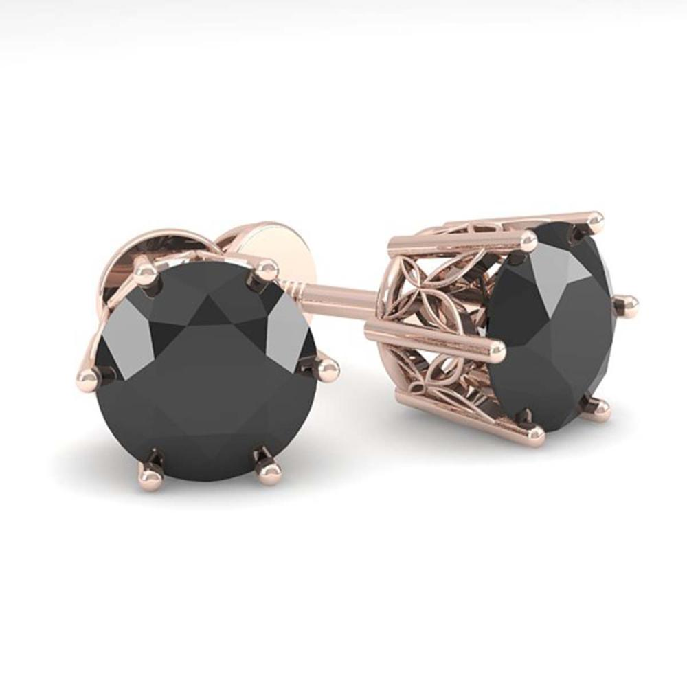 Lot 6975: 2.0 ctw Black Diamond Stud Earrings 18K Rose Gold - REF-73W5H - SKU:35849