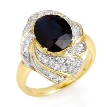 Lot 7062: 3.85 ctw Blue Sapphire & Diamond Ring 14K Yellow Gold - REF-74F4N - SKU:13086