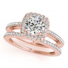 Lot 7068: 0.92 ctw VS/SI Diamond 2pc Wedding Set Halo 14K Rose Gold - REF-101V2Y - SKU:30994