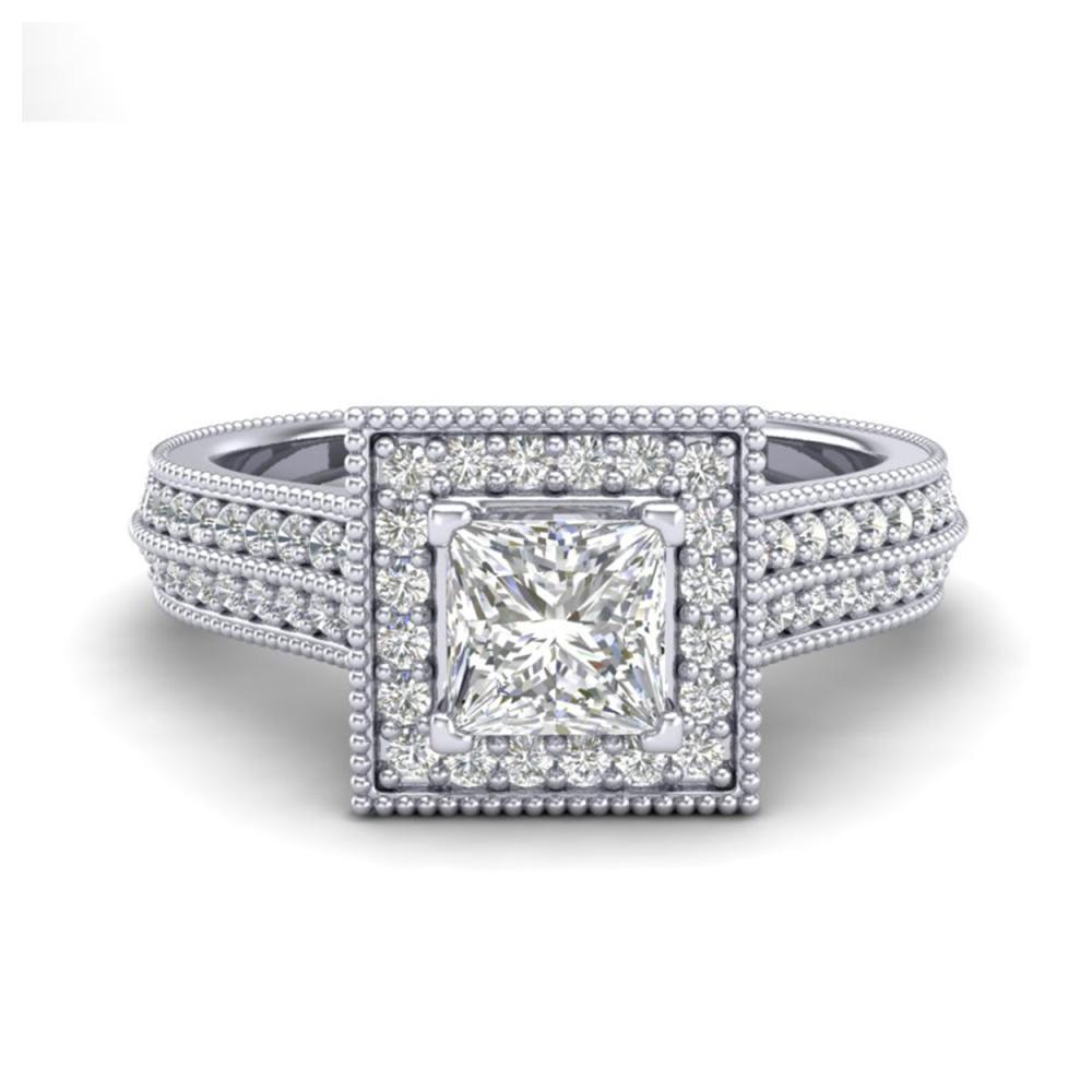 Lot 6990: 1.41 ctw Princess VS/SI Diamond Ring 18K White Gold - REF-200H2M - SKU:37178