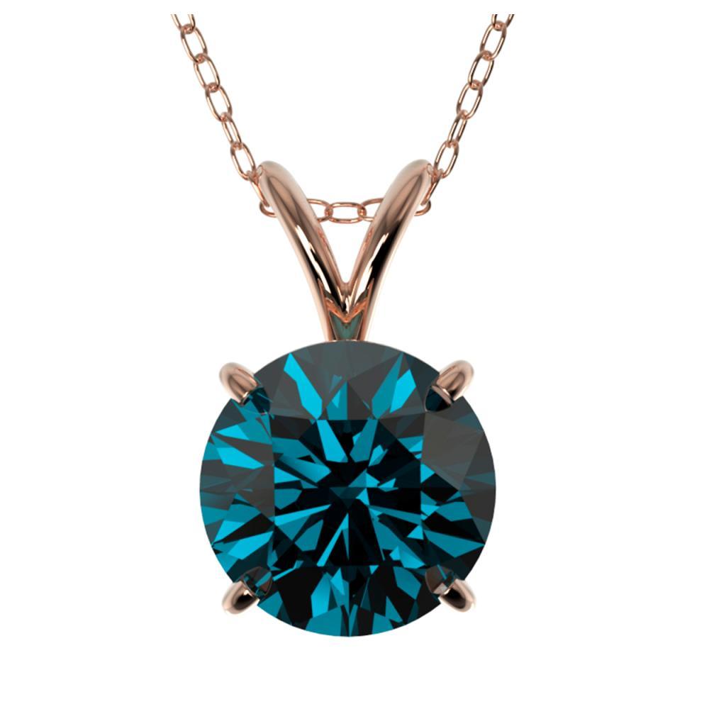 Lot 7066: 1.50 ctw Intense Blue Diamond Necklace 10K Rose Gold - REF-237M2F - SKU:33227