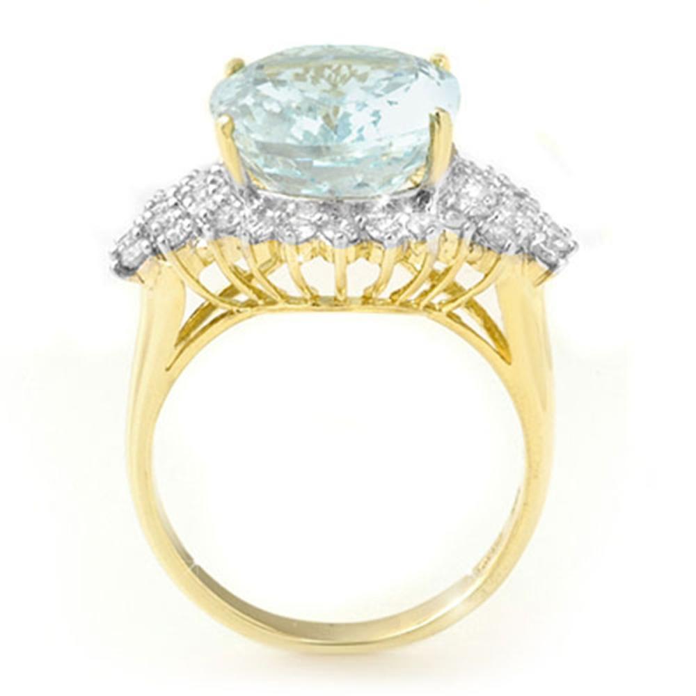 Lot 6957: 9.25 ctw Aquamarine & Diamond Ring 14K Yellow Gold - REF-183W6H - SKU:14514