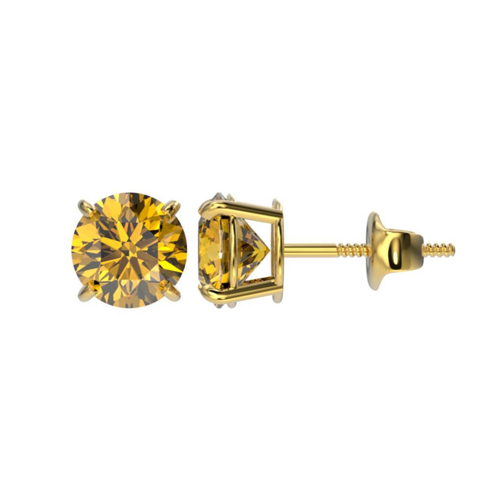 Lot 7078: 1.50 ctw Intense Yellow Diamond Stud Earrings 10K Yellow Gold - REF-192A2V - SKU:33079