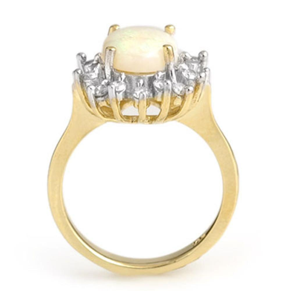 Lot 6964: 1.78 ctw Opal & Diamond Ring 10K Yellow Gold - REF-50M2F - SKU:13266
