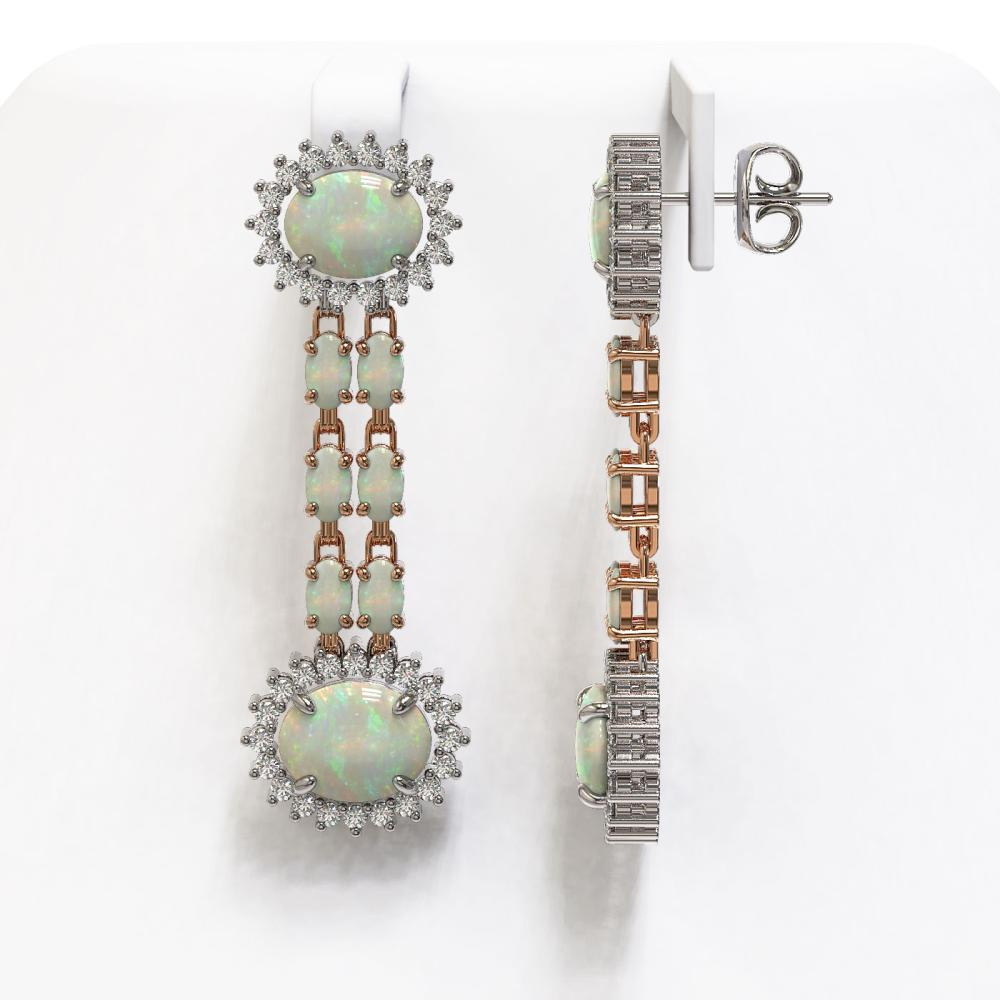 Lot 6967: 9.48 ctw Opal & Diamond Earrings 14K Rose Gold - REF-215A6V - SKU:44469