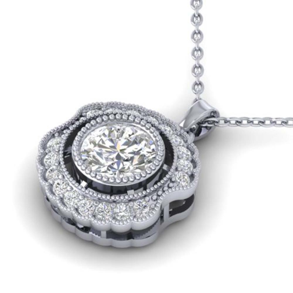Lot 6965: 1.02 ctw VS/SI Diamond Art Deco Necklace 14K White Gold - REF-177H3M - SKU:30543
