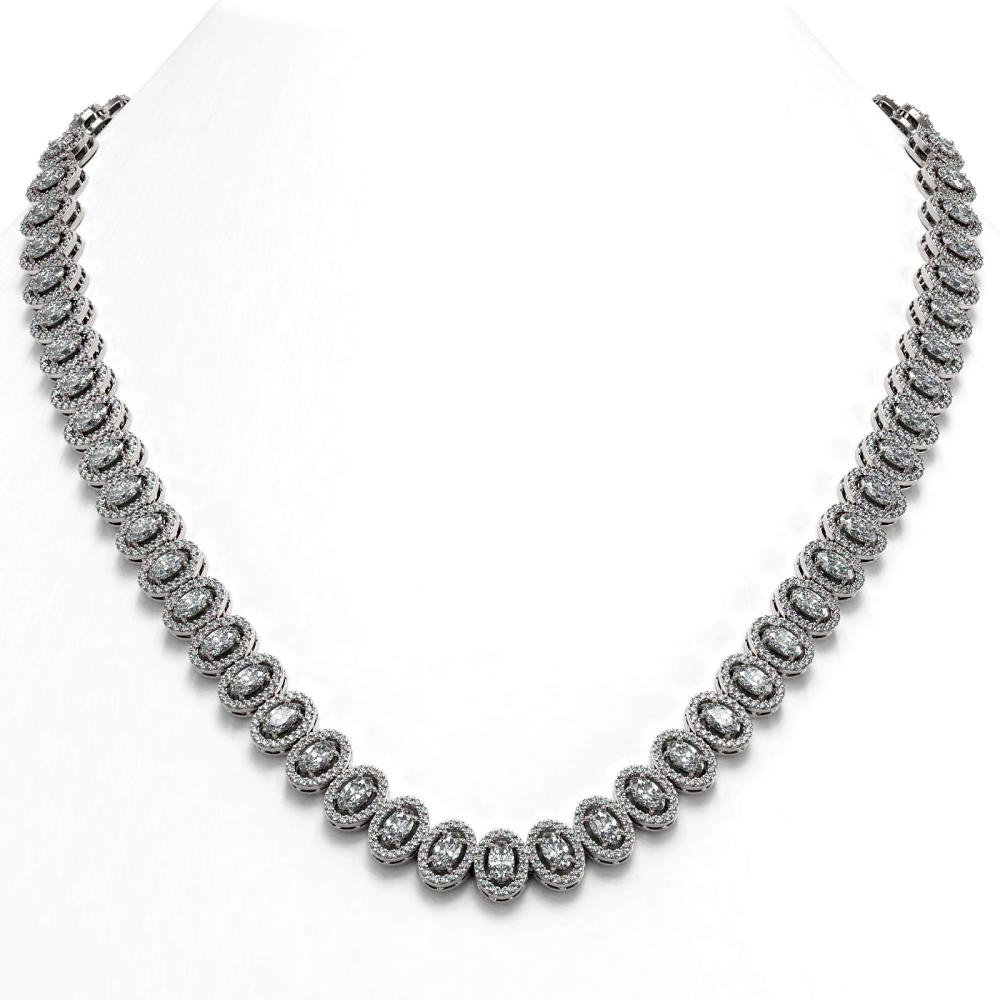 Lot 7021: 28.47 ctw Oval Diamond Necklace 18K White Gold - REF-2389R2K - SKU:43064