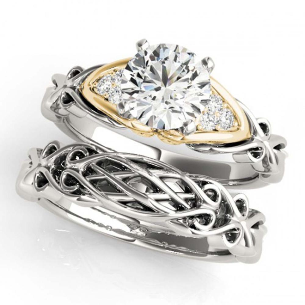 Lot 6907: 0.85 ctw VS/SI Diamond Solitaire 2pc Set 14K White & Yellow Gold - REF-156A2V - SKU:31878