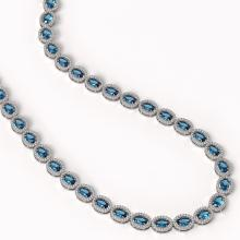 Lot 6982: 33.25 ctw London Topaz & Diamond Halo Necklace 10K White Gold - REF-511W3H - SKU:40436