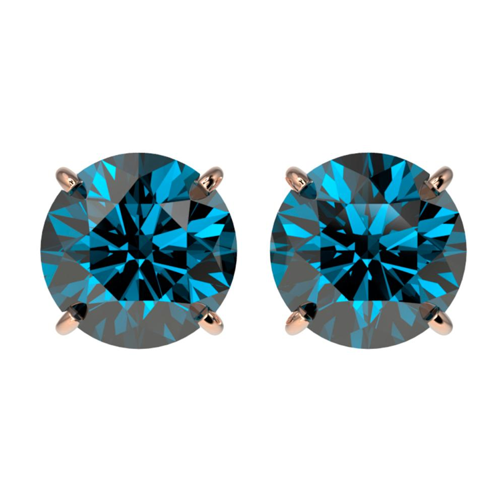 Lot 7008: 3 ctw Intense Blue Diamond Stud Earrings 10K Rose Gold - REF-435H2M - SKU:33127