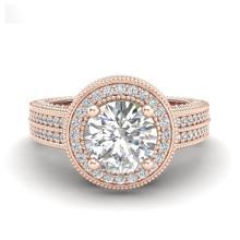 Lot 6977: 2.8 ctw VS/SI Diamond Solitaire Art Deco Ring 18K Rose Gold - REF-527R3K - SKU:37137