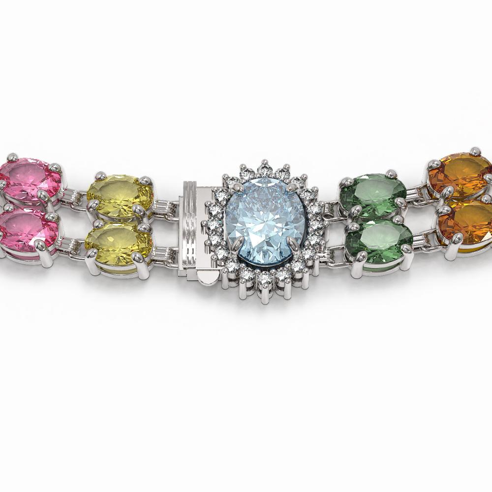 Lot 6029: 65.29 ctw Sapphire & Diamond Necklace 14K White Gold - REF-699N3A - SKU:44387