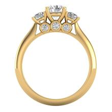 Lot 6013: 1.50 ctw VS/SI Diamond Solitaire Art Deco 3 Stone Ring 18K Yellow Gold - REF-236H4M - SKU:37315