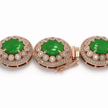Lot 6024: 101.75 ctw Jade & Diamond Necklace 14K Rose Gold - REF-2594A5V - SKU:46120