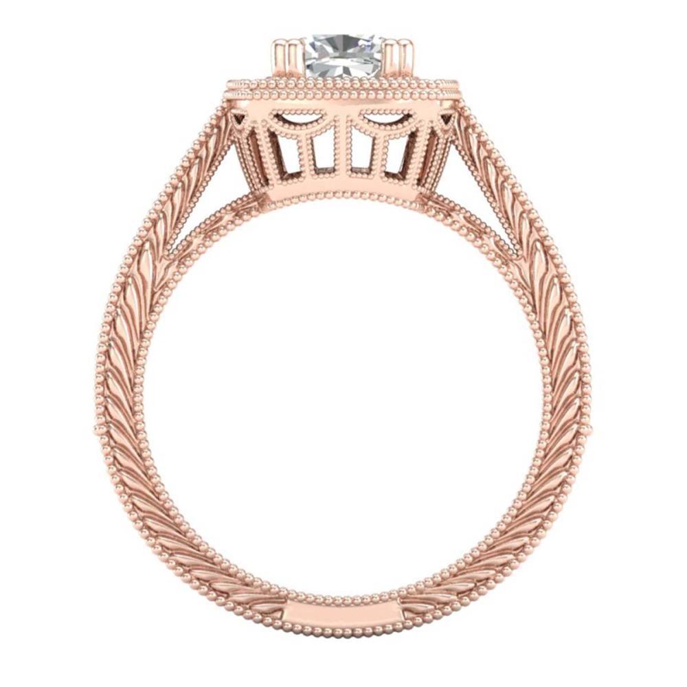 Lot 6032: 1.77 ctw VS/SI Cushion Diamond Solitaire Art Deco Ring 18K Rose Gold - REF-459F3N - SKU:37032