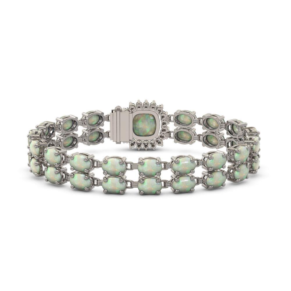 Lot 6060: 14.41 ctw Opal & Diamond Bracelet 14K White Gold - REF-202A4V - SKU:45608