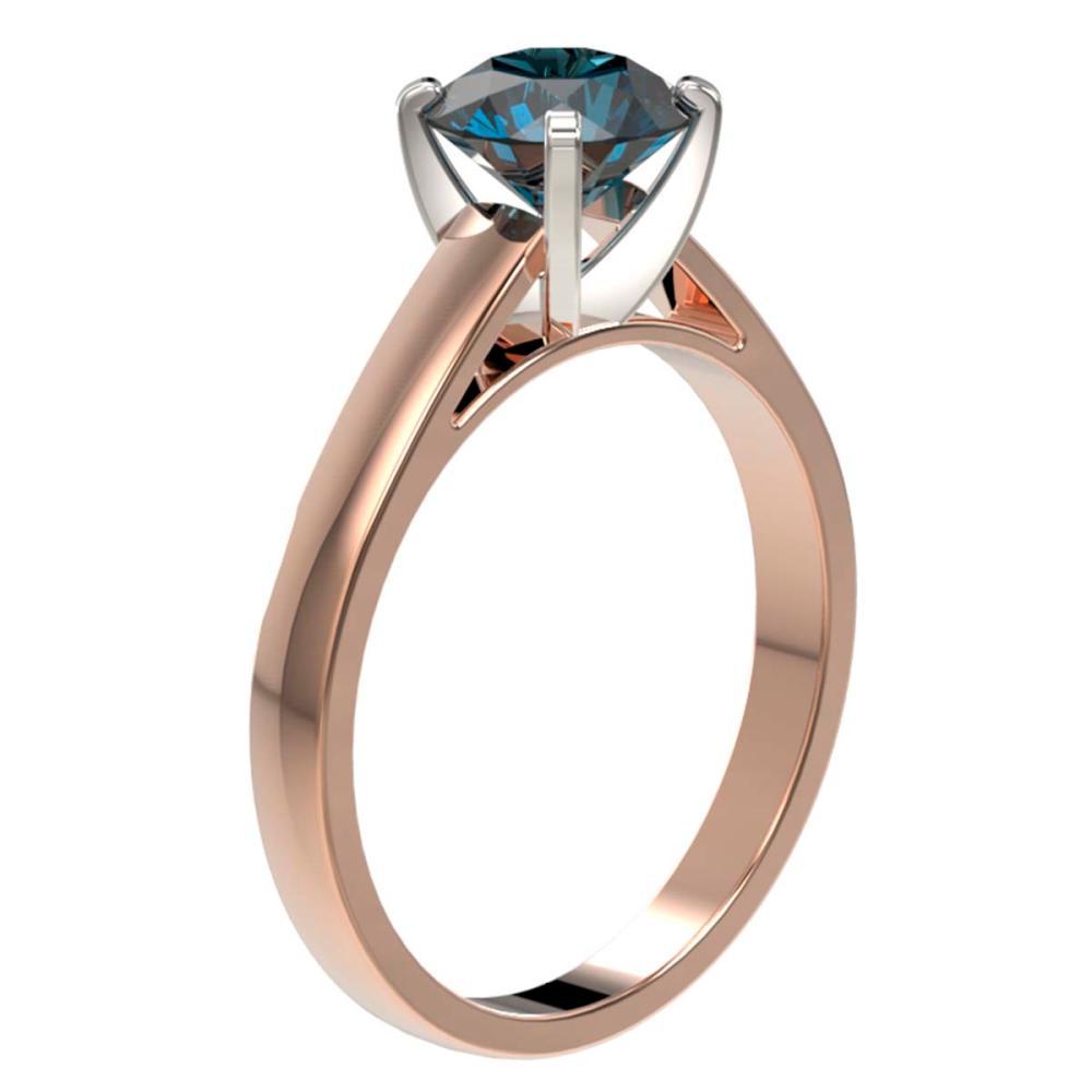 Lot 6108: 1.50 ctw Intense Blue Diamond Ring 10K Rose Gold - REF-210X2R - SKU:33026