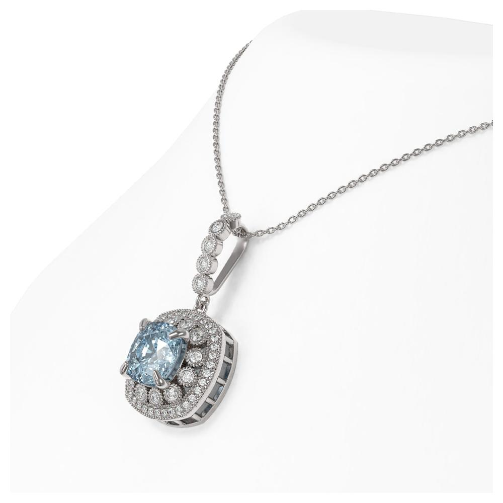 Lot 6102: 5.28 ctw Aquamarine & Diamond Necklace 14K White Gold - REF-162R9K - SKU:44012