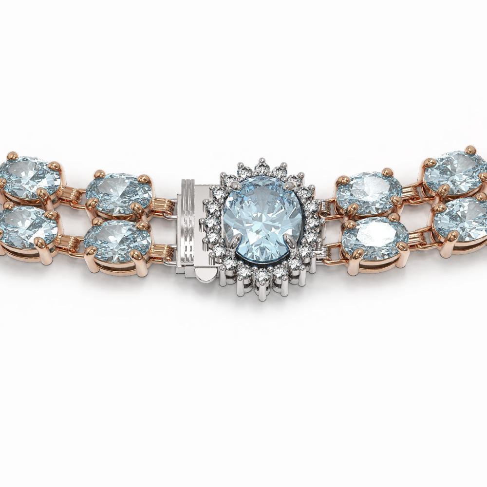 Lot 6143: 45.94 ctw Aquamarine & Diamond Necklace 14K Rose Gold - REF-626A9V - SKU:44364