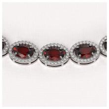 Lot 6095: 50.08 ctw Garnet & Diamond Halo Necklace 10K White Gold - REF-555Y6X - SKU:40598