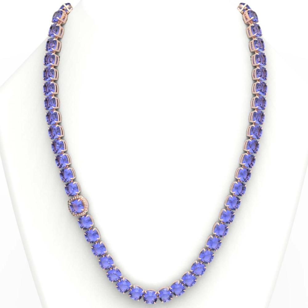 Lot 6188: 100 ctw Tanzanite & VS/SI Diamond Solitaire Necklace 14K Rose Gold - REF-1345F3N - SKU:23362