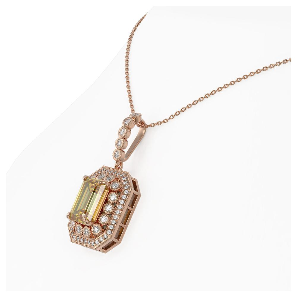Lot 6196: 5.82 ctw Canary Citrine & Diamond Necklace 14K Rose Gold - REF-132N9A - SKU:43452