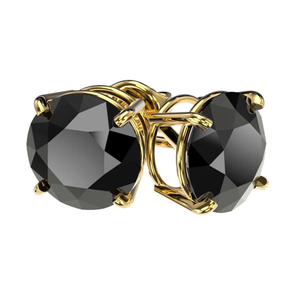 Lot 6211: 3.70 ctw Fancy Black Diamond Solitaire Stud Earrings 10K Yellow Gold - REF-73H5M - SKU:36705