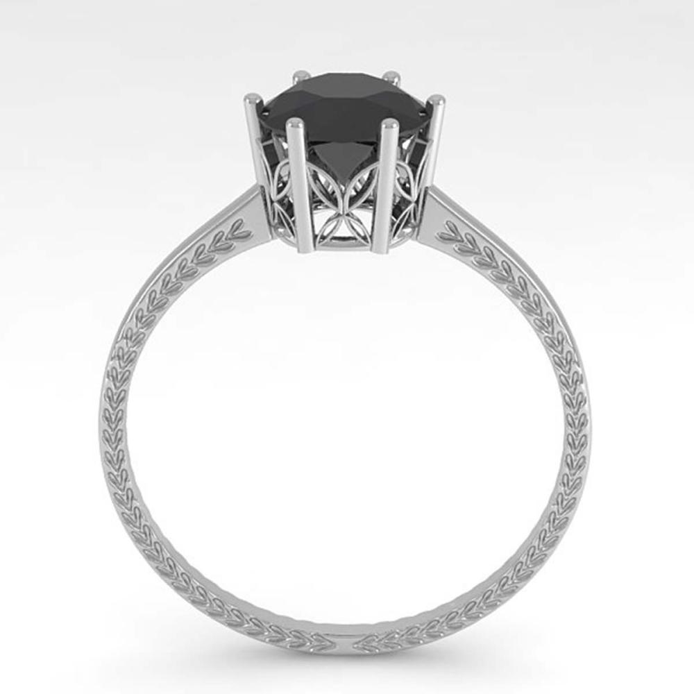 Lot 6255: 1.0 ctw Black Diamond Solitaire Ring 18K White Gold - REF-44F3N - SKU:35901