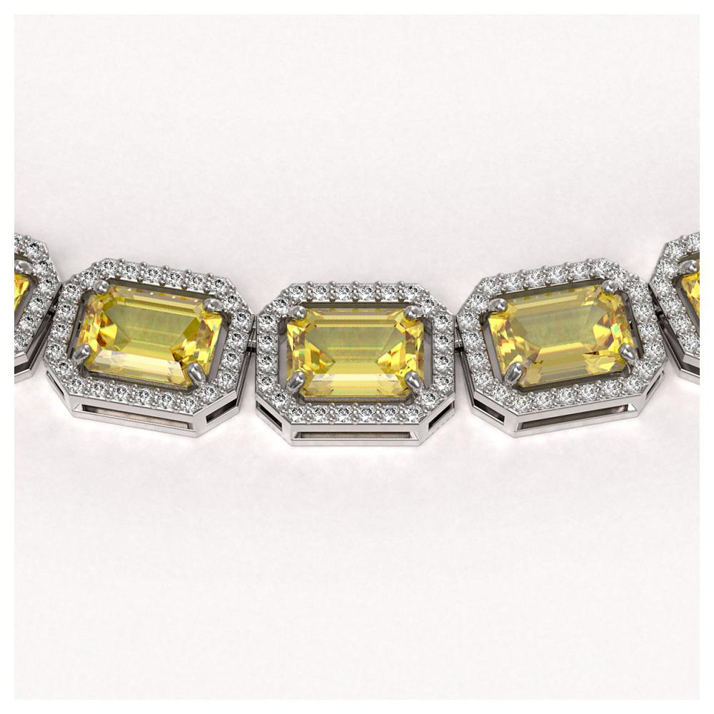Lot 6240: 52.94 ctw Fancy Citrine & Diamond Halo Necklace 10K White Gold - REF-763X6R - SKU:41372