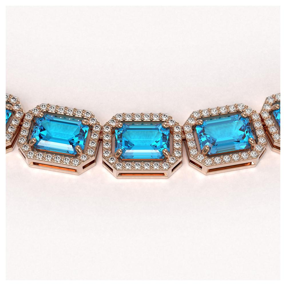 Lot 6283: 52.99 ctw Swiss Topaz & Diamond Halo Necklace 10K Rose Gold - REF-696F2N - SKU:41364