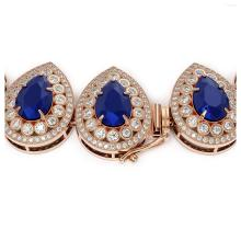 Lot 6245: 121.42 ctw Sapphire & Diamond Necklace 14K Rose Gold - REF-3331Y5X - SKU:43233