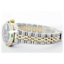 Lot 6062: Rolex Men's Two Tone 14K Gold/SS, QuickSet, Diam Dial & Diam/Emerald Bezel - REF-557X2Y